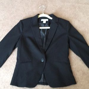 H&M Black One Button Blazer Size 8